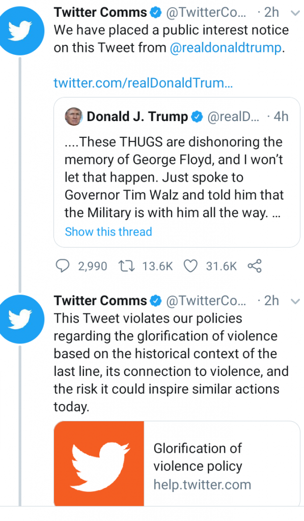 Twitter Flags Trump's Tweet About George Floyd Hours After Trump Ordered Regulation Of Social Media 9