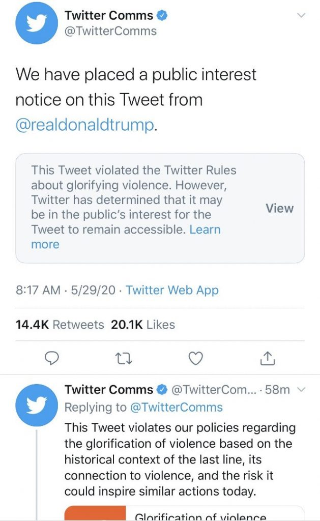 Twitter Flags Trump's Tweet About George Floyd Hours After Trump Ordered Regulation Of Social Media 8