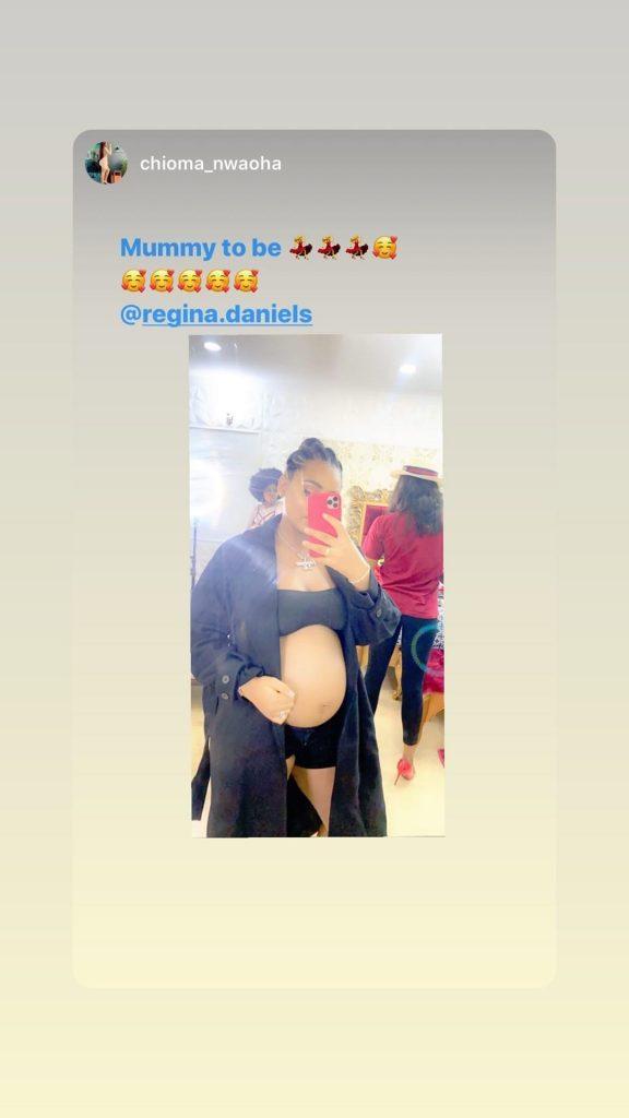 Regina Daniels Flaunts Bare Baby Bump (Photos)
