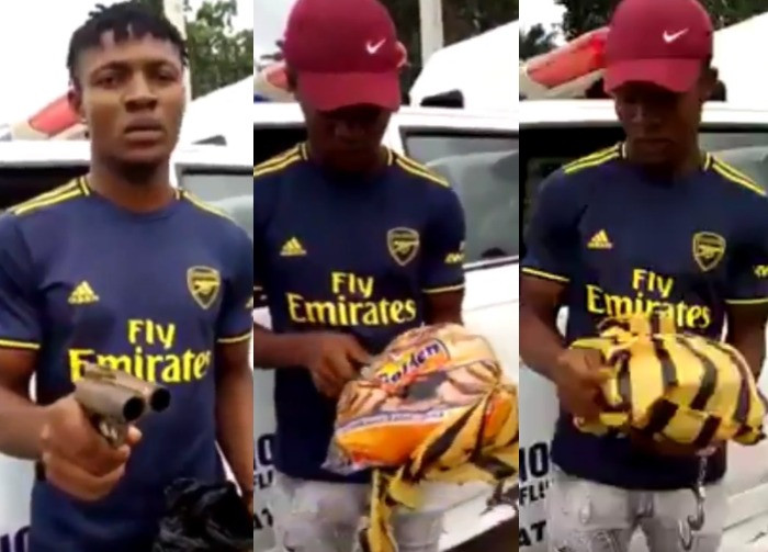 BUSTED! Man Caught With A Gun Hidden Inside A Bread In Imo (Video)