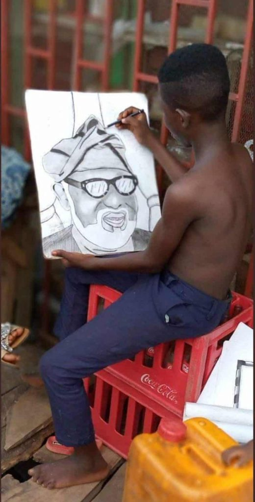Ondo Governor, Akeredolu Meets With Secondary School Student Who Drew His Portrait (Photos)