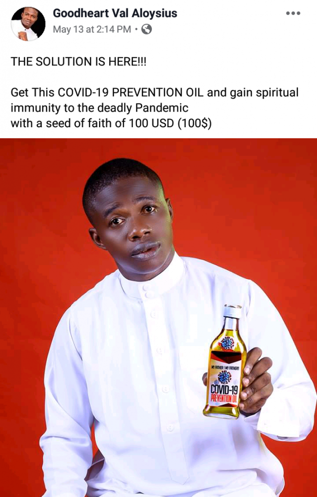 Pastor Puts COVID-19 Prevention Oil Up For Sale For N36,000; Nigerians React 12