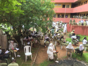 Kaduna Corpers Observe Social Distancing While Waiting For Certificate 3