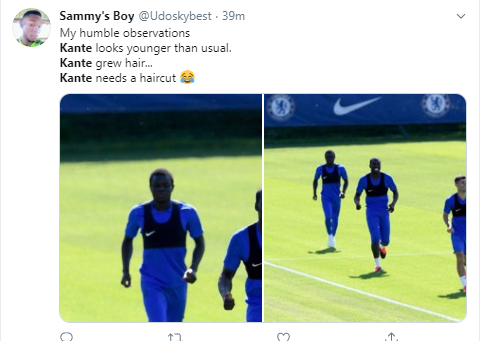 N'Golo Kante Returns To Training With New Hairstyle, Fans Left In Total Shock (Photos)