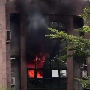 Nigerian Postal Service Headquarters On Fire 3