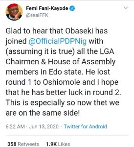"""I'm Glad To Hear That Obaseki Has Joined PDP"" - FFK 6"