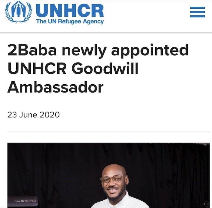Singer, 2Baba Made UNHCR Ambassador