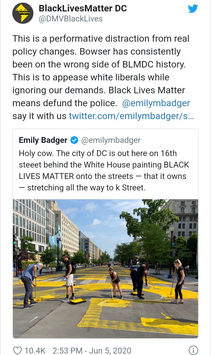 D.C Mayor Paints 'Black Lives Matter' On Street Leading To The White House In A Clear Message To Trump