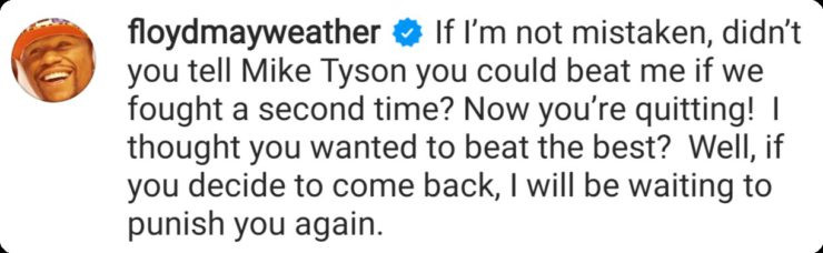 Floyd Mayweather Reacts To Conor McGregor's Retirement 6