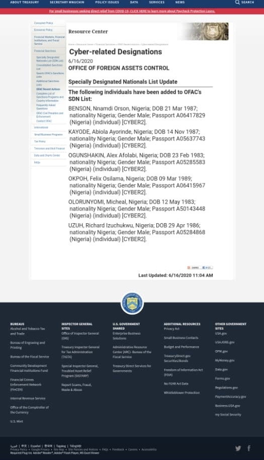 United States Sanctions 6 Nigerians For Stealing $6m From U.S. Businesses And Individuals