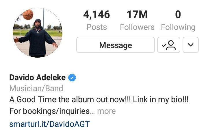 Davido Unfollows Chioma, Every Other Person On Instagram