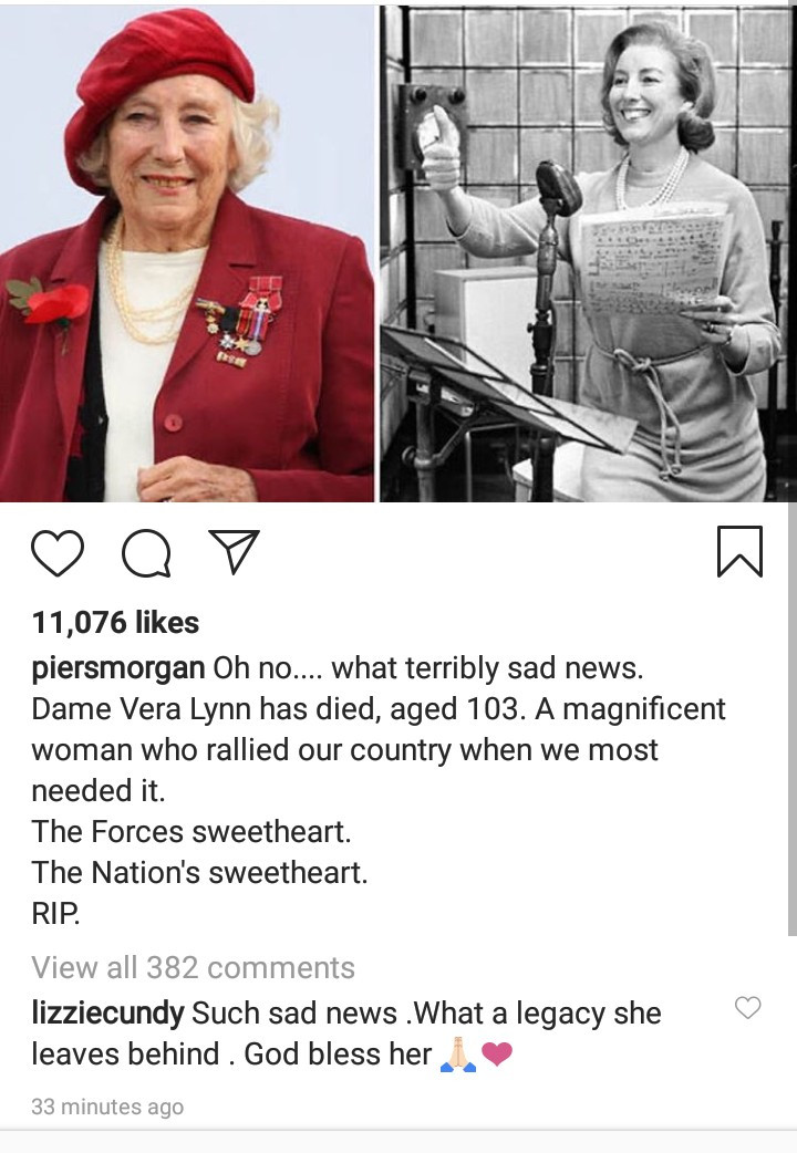 British Singer, Dame Vera Lynn Dies At The Age Of 103