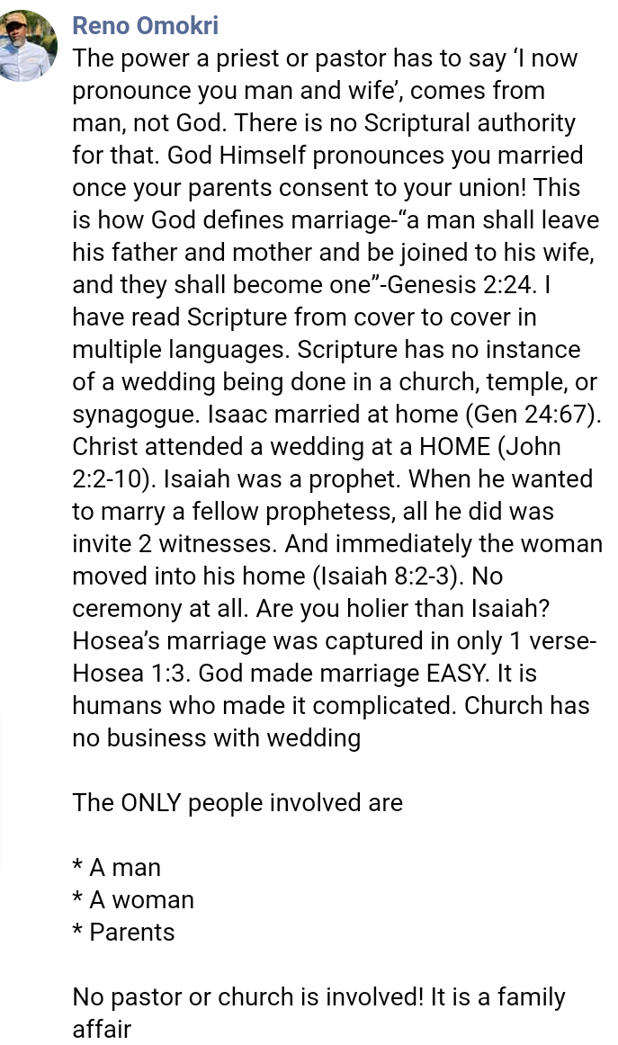 You Don't Need A Church Wedding To Be Married, It Isn't In The Scriptures - Reno Omokri