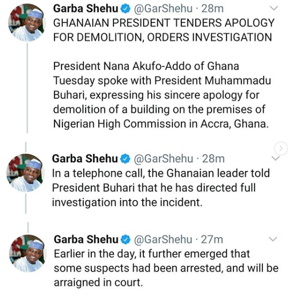 Ghanaian President, Nana Akufo-Addo Apologizes Over The Demolision Of Nigerian High Commission In Accra