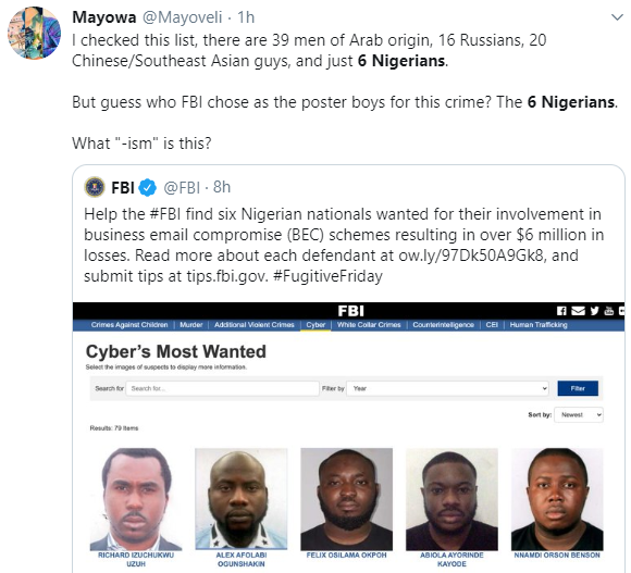 Nigerians Drag FBI For Focusing On 6 Nigerians While Publishing List Of Wanted Fraudsters