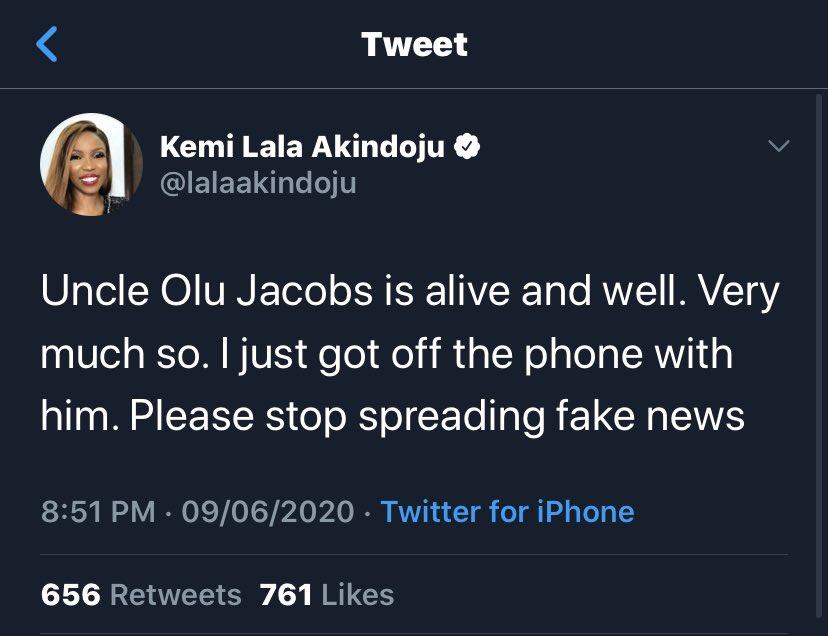 Olu Jacobs Is Alive – Actress Lala Akindoju
