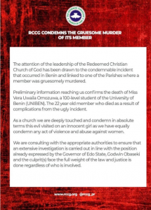 Pastor Adeboye Reacts To Rape Of Uwa Omozuwa, UNIBEN Student In Edo RCCG 6