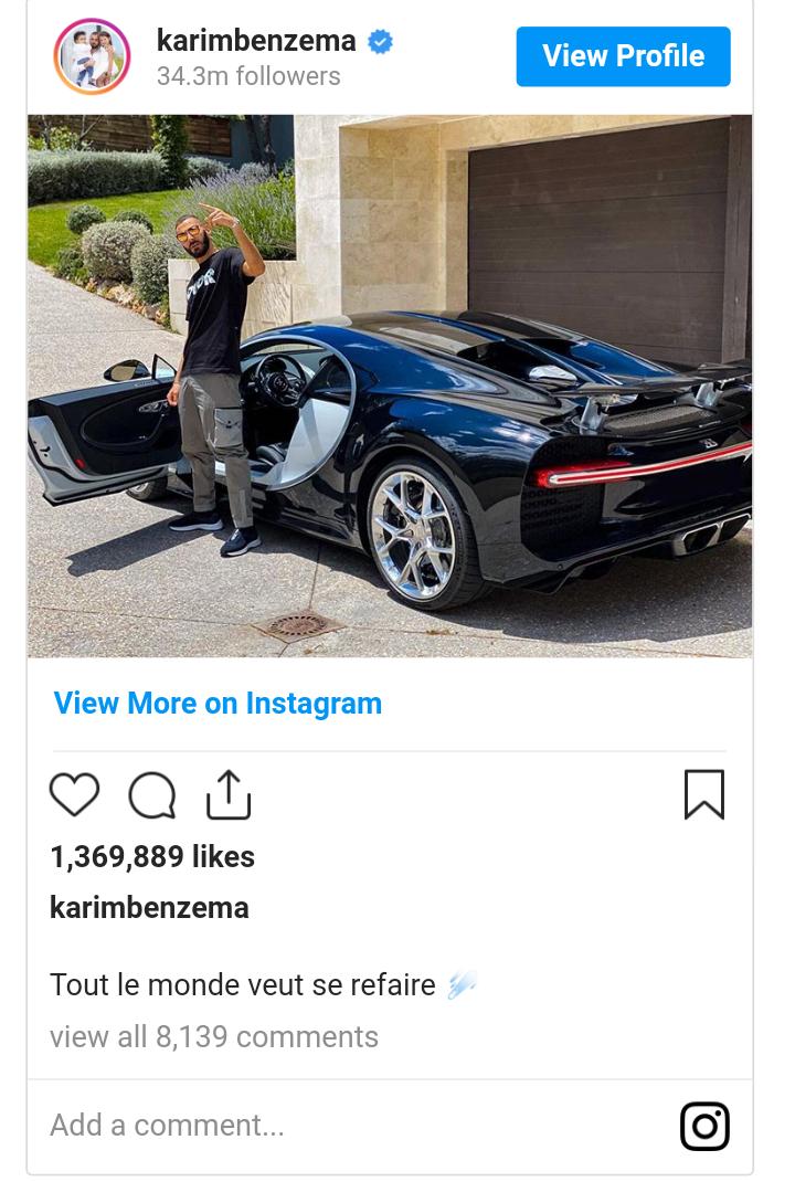Benzema Flaunts His New Bugatti Chiron That's Worth N965 Million