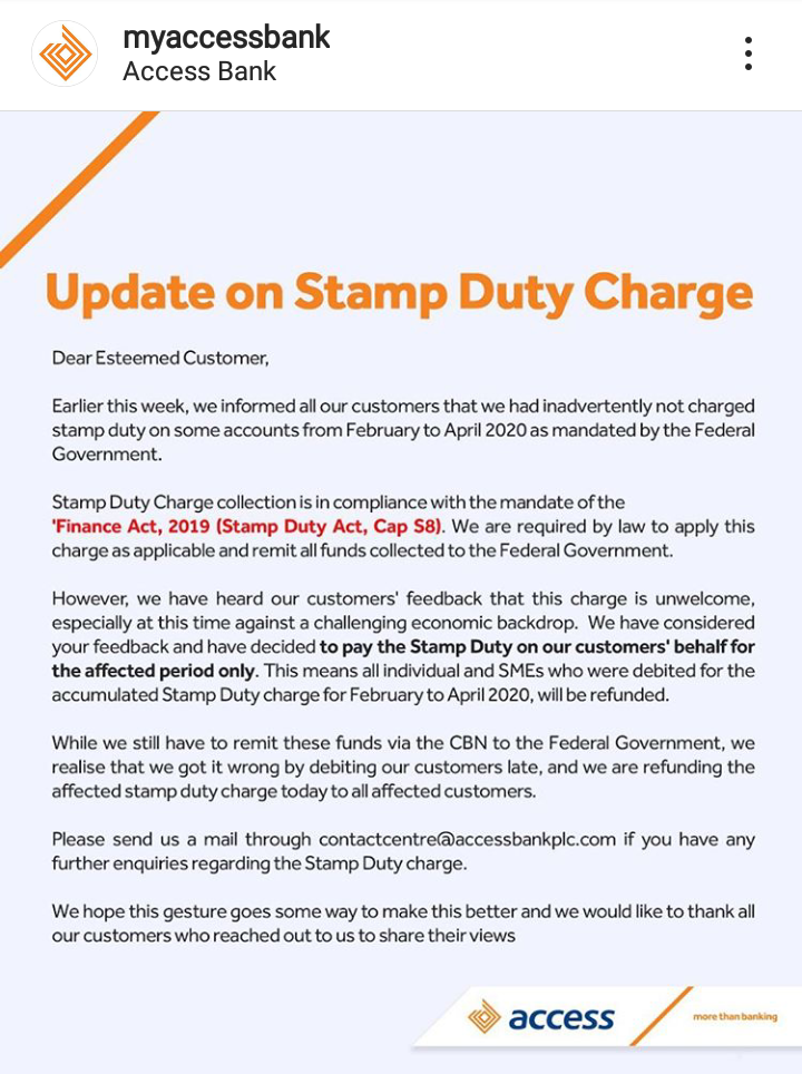 Access Bank To Refund Customers Who Were Debited Of Stamp Duty Charge