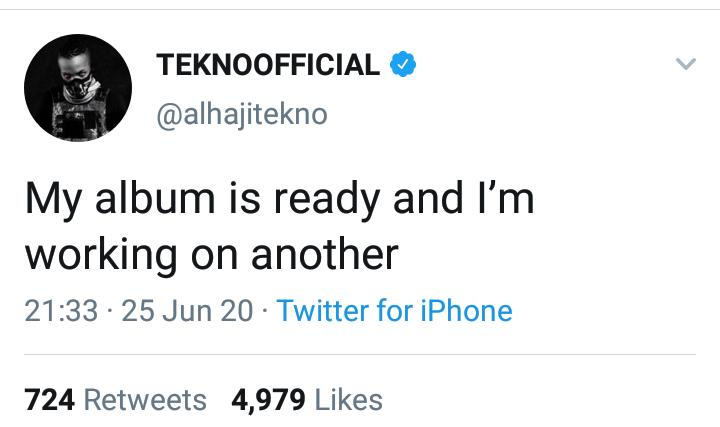 My Album Is Ready – Singer, Tekno Announces