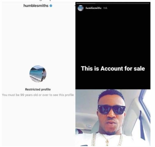 Hacker Puts Singer, Humble Smith's Instagram Account Up For Sale (Photo)