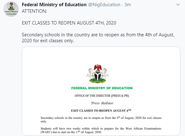 Students In Secondary School Exit Classes To Resume August 4