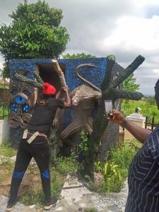 Abia State Church of Satan Founder Arrested, Shrine Destroyed ( Photos)