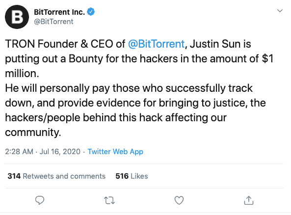 BitTorrent CEO Justin Sun Places $1Million Bounty On Twitter Hackers 4