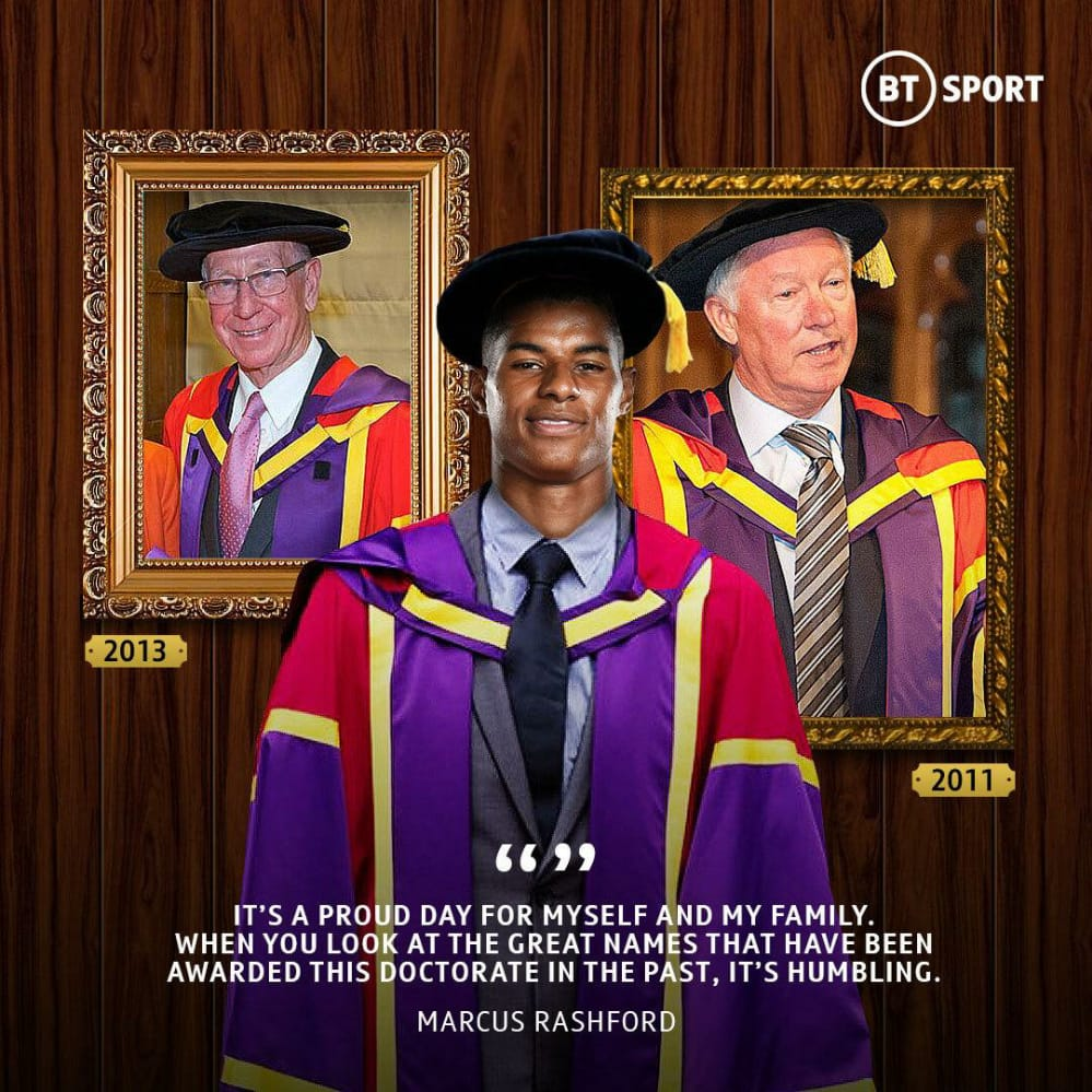 Rashford Receives Honorary Degree From The University of Manchester