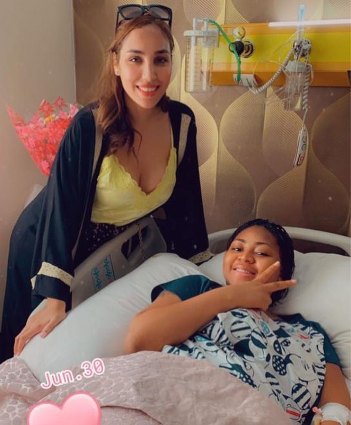 Ned Nwoko's Moroccan Wife Visits Regina Daniels After The Birth Of Her Son