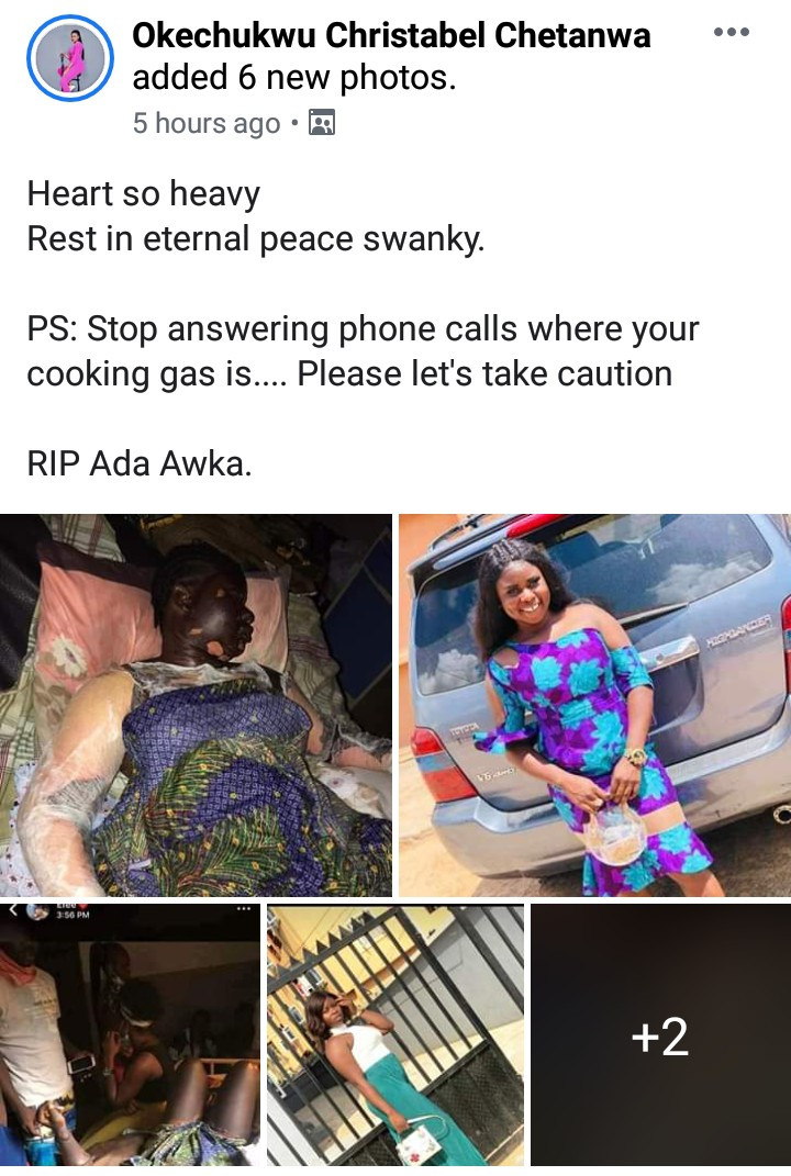 Young Lady Dies After Getting Burnt While Answering A Phone Call Beside A Gas Cannister (Graphic Photos)