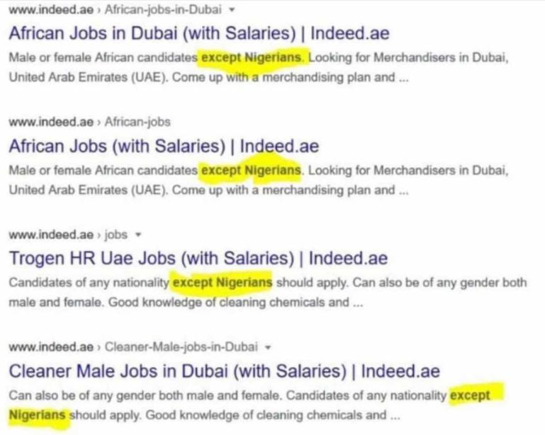 Mulitple Dubai Companies Now Rejecting Nigerian Job Applicants (Photos)