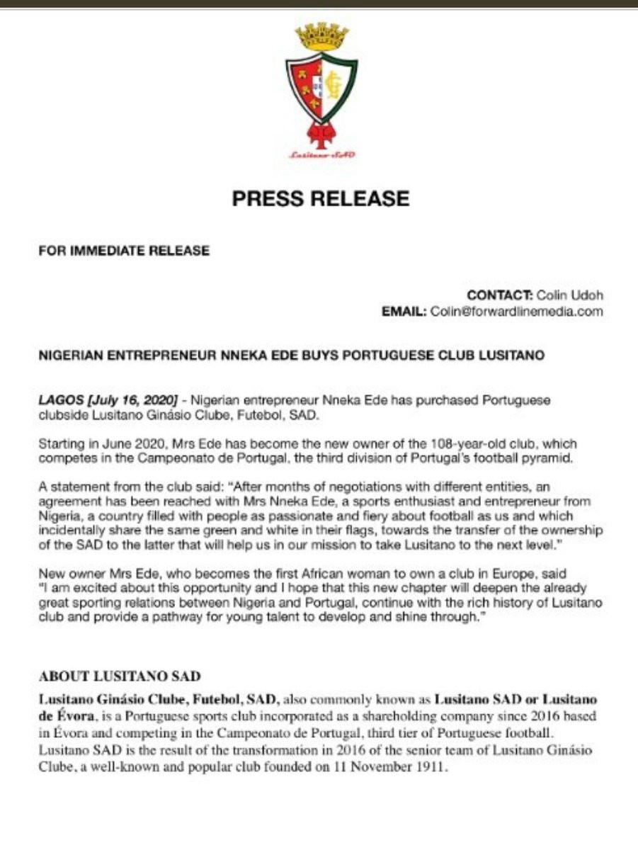 Nigerian Lady, Nneka Ede Buys Portuguese Club Lusitano