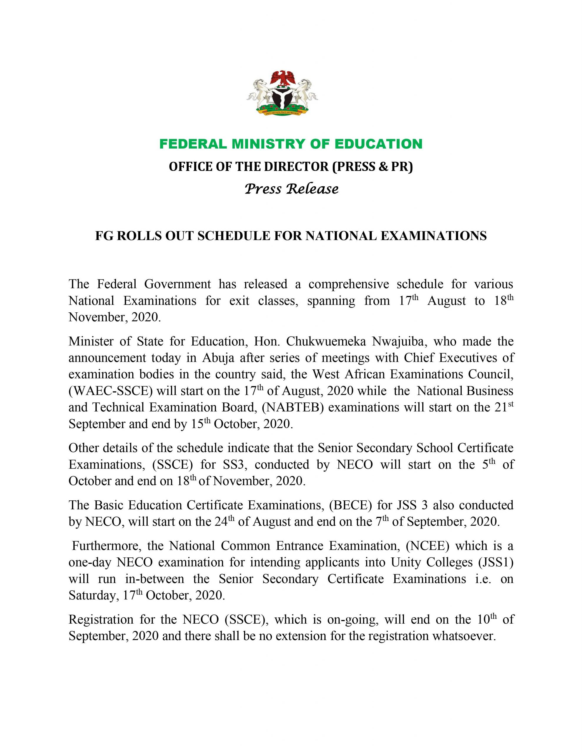 NECO Examinations To Start On October 5, National Common Entrance Examination Fixed For October 17 - FG 5