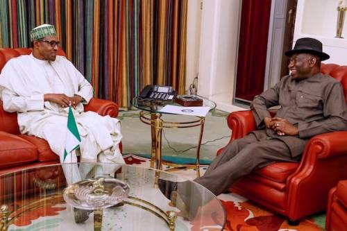 Buhari Holds Closed Door Meeting With Goodluck Jonathan At The Presidential Villa
