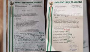 Ondo State Deputy Governor Recieves Impeachment Notice as 14 House Members Signs Impeachment Notice