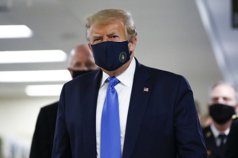President Trump Wears Mask In Public For The First Time (Photos)