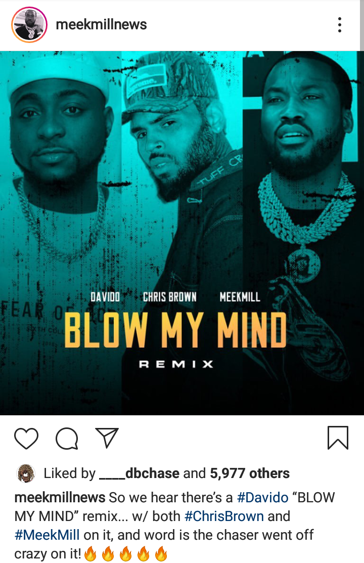 """Davido Set To Release """"Blow My Mind Remix"""" Featuring Meek Mill & Chris Brown"""