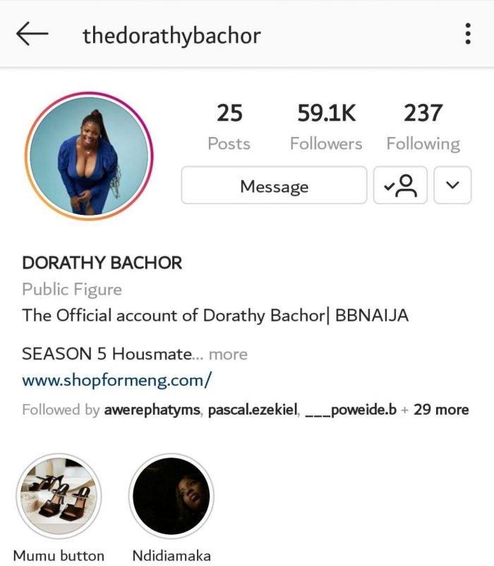 BBNaija's Dorathy Bachor Gets Over 58k Followers Within 24hours