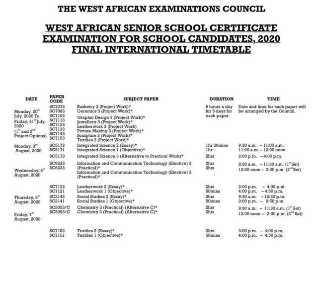 See 2020 WASSCE Full Timetable