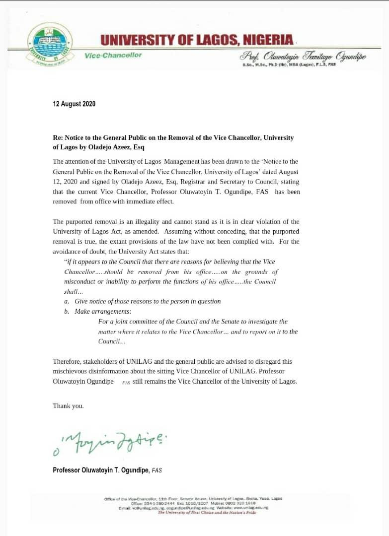 I Remain The Vice-Chancellor Of UNILAG - Professor Toyin Ogundipe