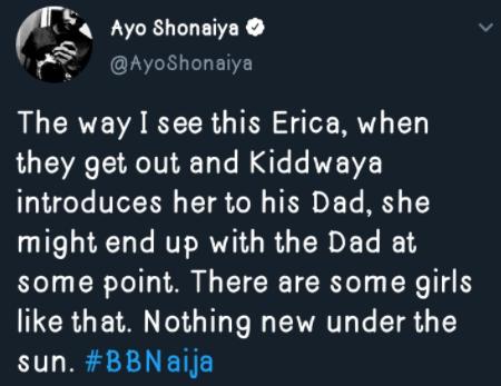#BBNaija: Erica May End Up With Kiddwaya's Dad I'd He Introduces Her To Him - Ayo Shonaiya