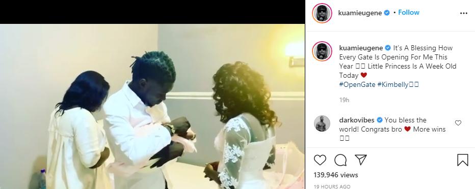 Ghanaian Rockstar, Kuami Eugene Welcomes Baby Girl (Photo)