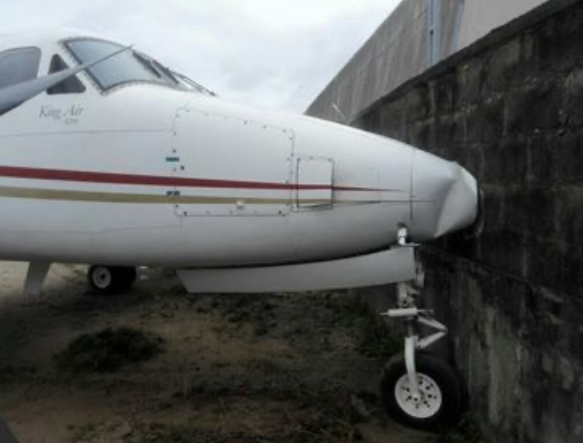 Jet Suffers Brake Failure, Rams Into Fence At Lagos Airport (Photos)
