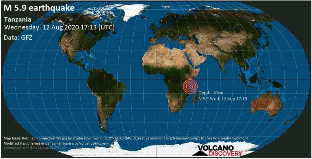 Earthquake Strikes Off-Shore Tanzania Near Dar-Es-Salaam