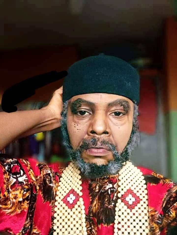 Nigerian Makeup Artist Transforms Herself To Actor, Pete Edochie Using Makeup (Photos)