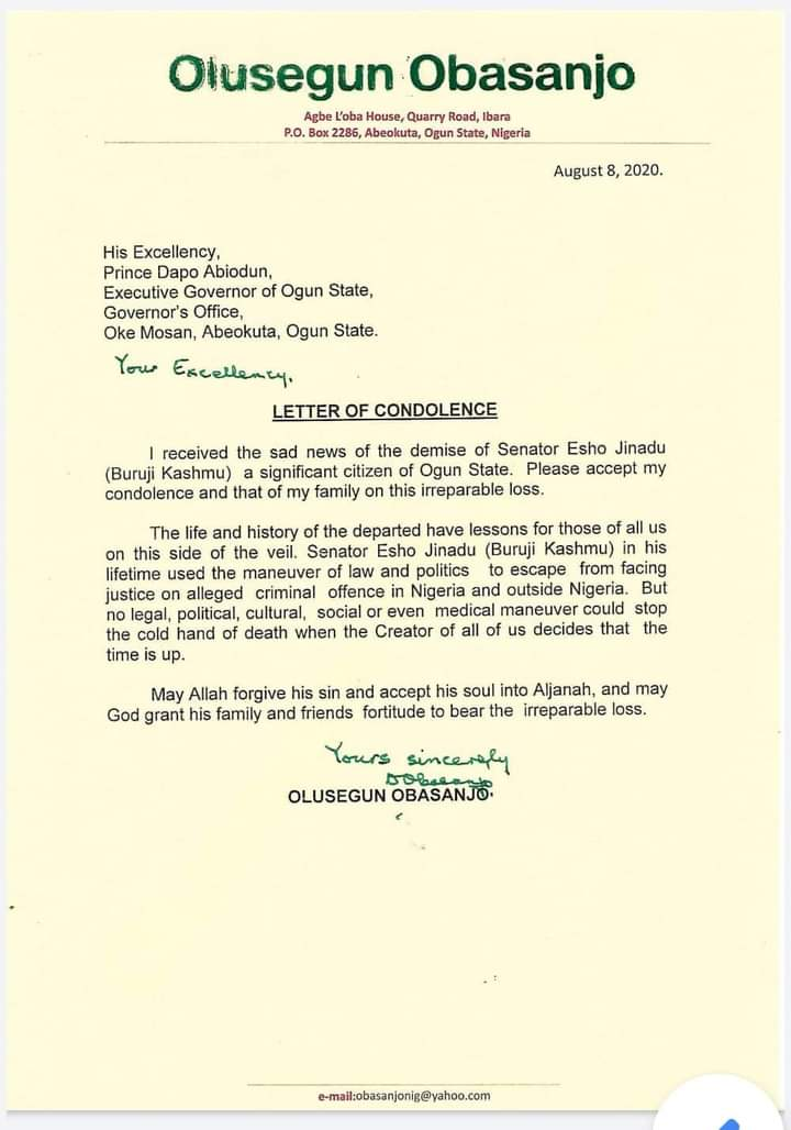 Olusegun Obasanjo Reacts To Senator Kashamu's Death With Unexpected Letter
