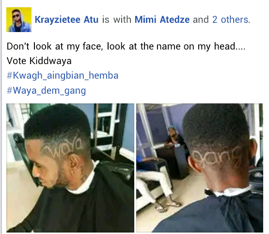 #BBNaija: Young Man Carves Kiddwaya's Name On His Head (Photos)