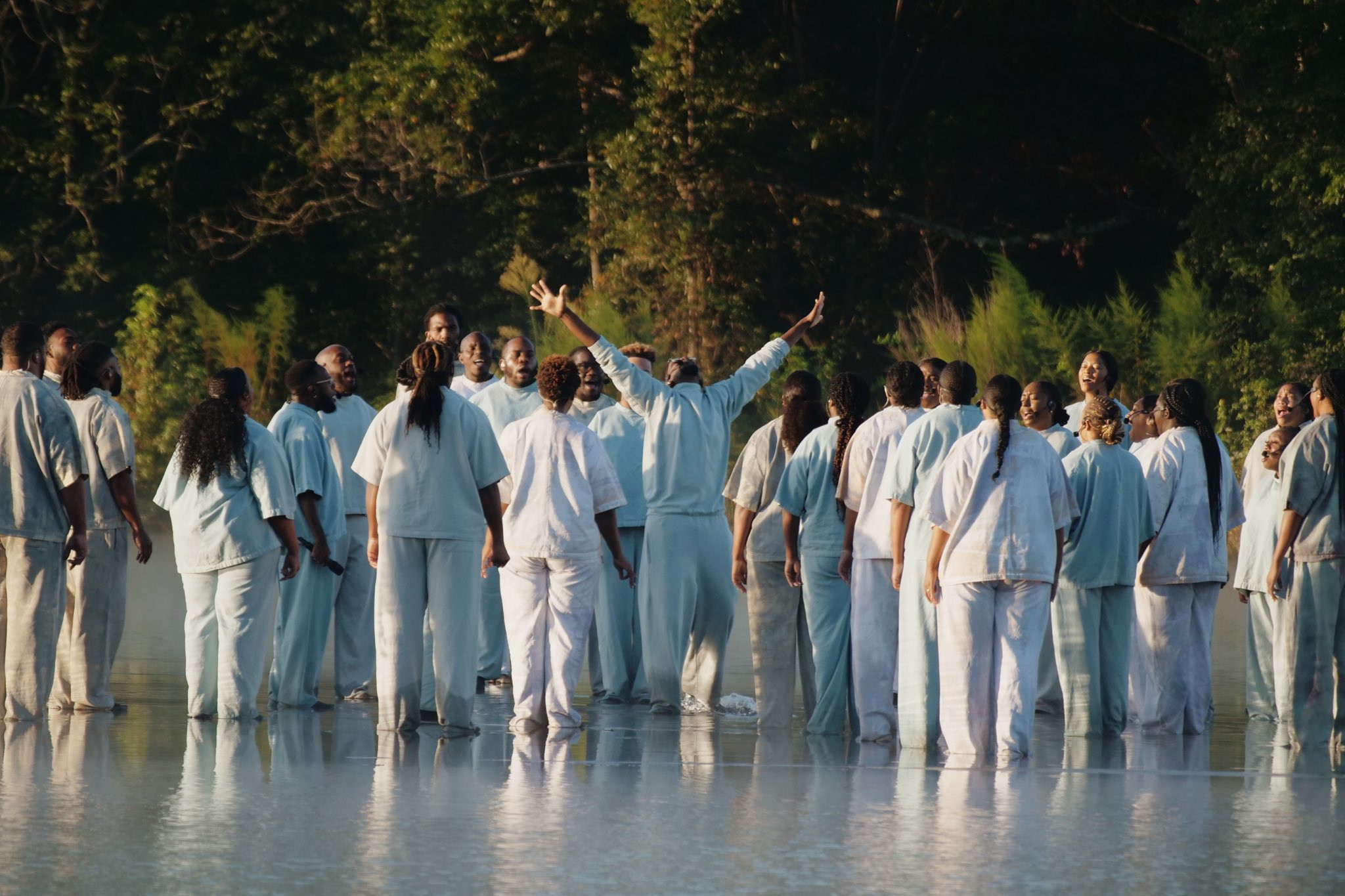 Kanye West, His Sunday Service Crew And Joel Osteen 'Walk On Water' (Video)