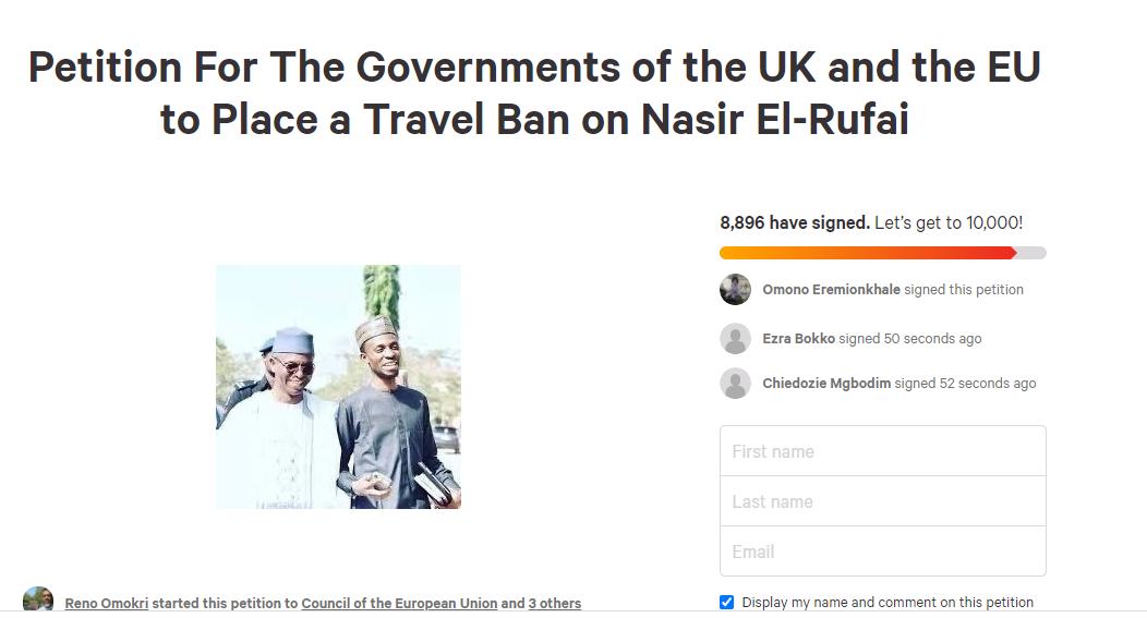 Thousands Of Nigerians Sign Reno Omokri's Petition Asking The EU And UK To Bar Governor El-Rufai